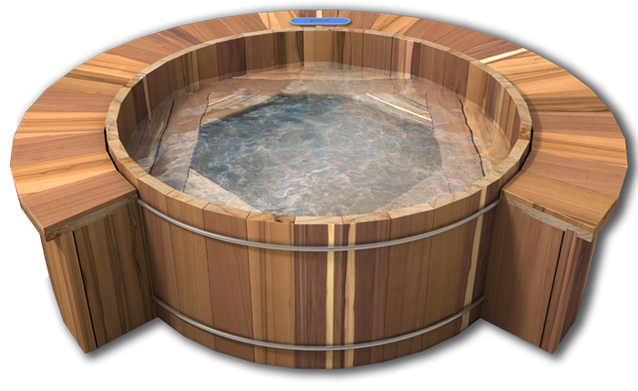 wooden barrel hot tub