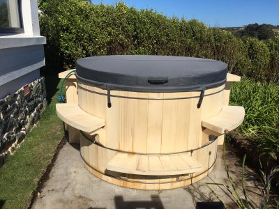 wooden barrel hot tub